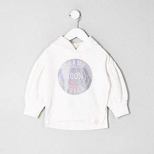Mini - Crème hoodie met 'drama queen'-print voor meisjes