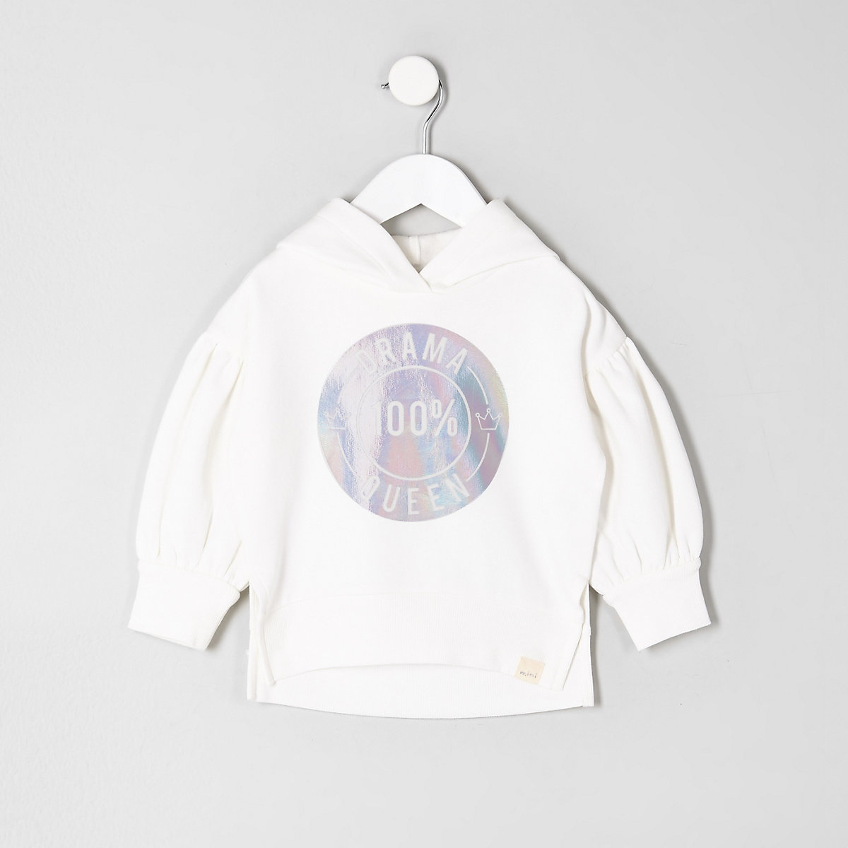 Mini girls cream 'drama queen' hoodie