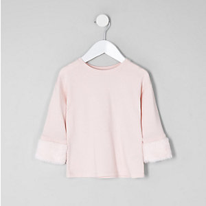 Mini girls light pink faux fur cuff top