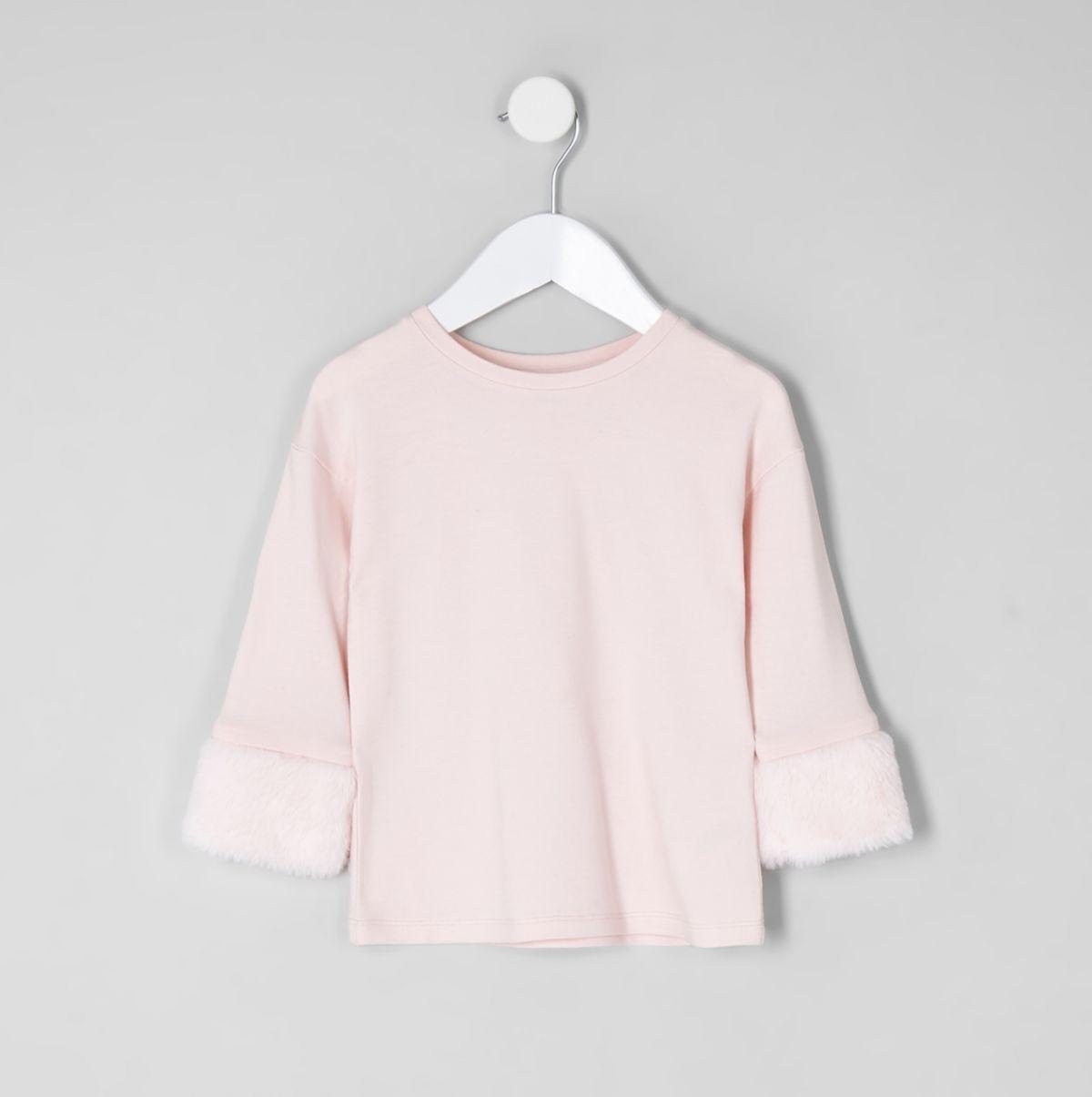 Mini girls light pink faux fur cuff top