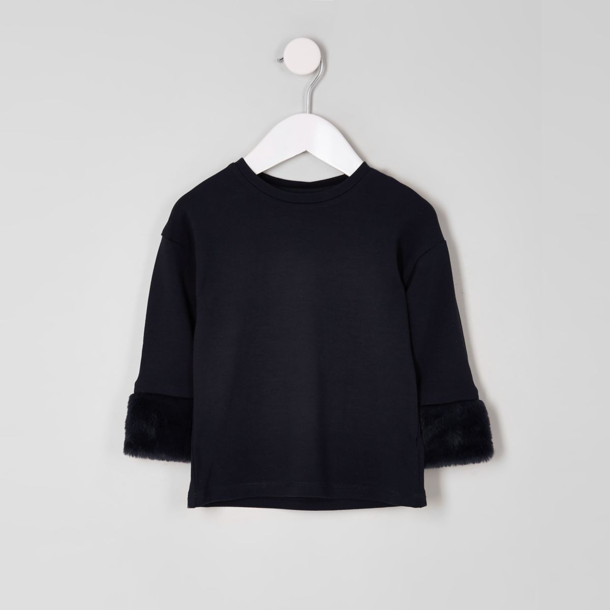 Mini girls navy faux fur cuff top​