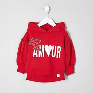 Sweat à capuche imprimé «amour» rouge mini fille
