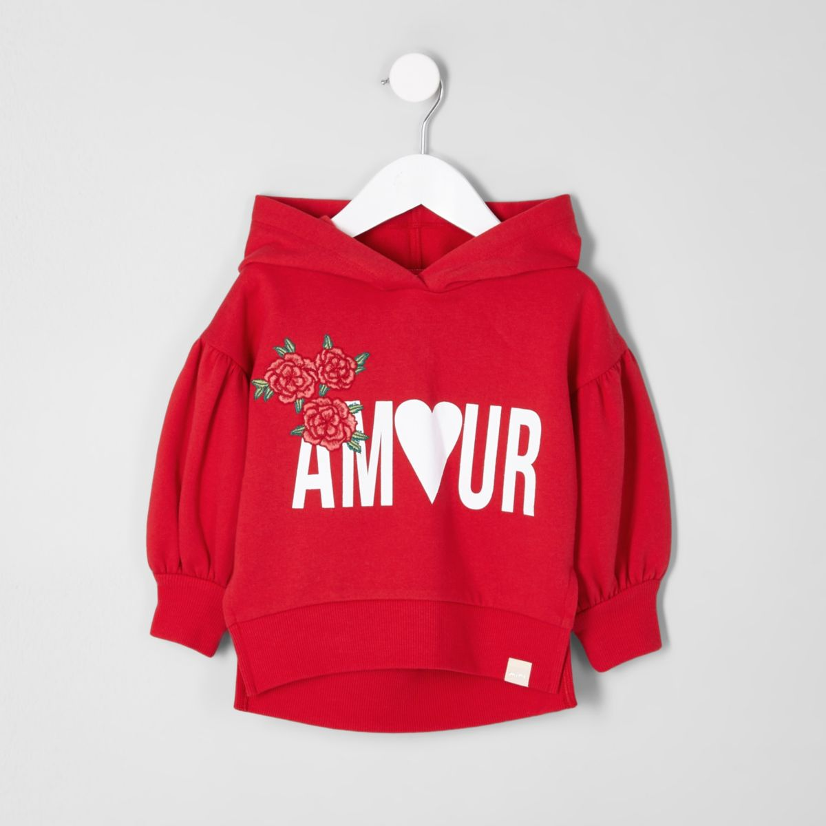 Mini girls red 'amour' print hoodie
