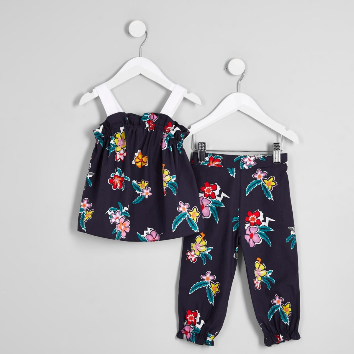 Mini girls navy floral ruched cami outfit