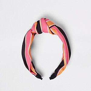 Girls orange stripe knot hairband