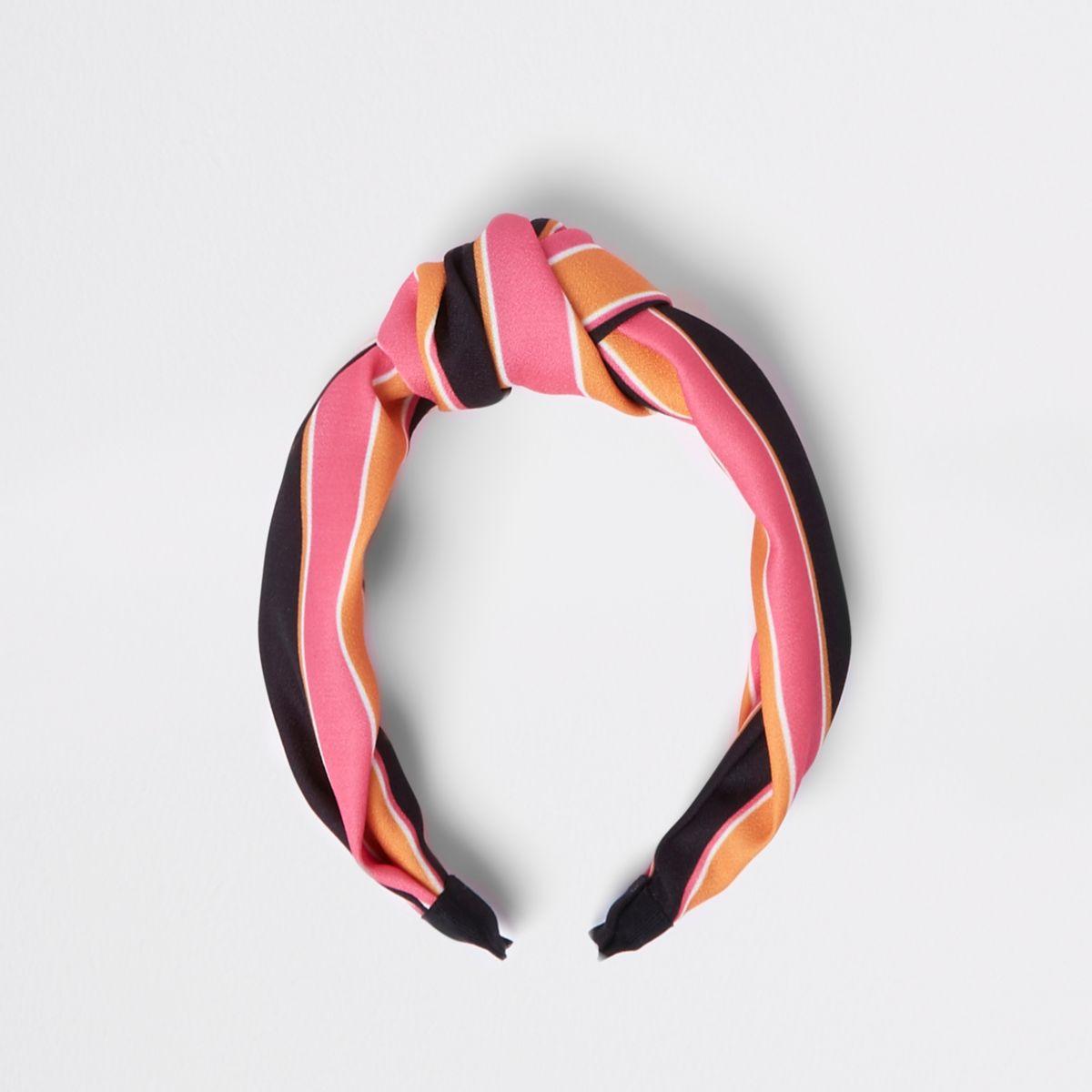 Girls orange stripe knot hairband