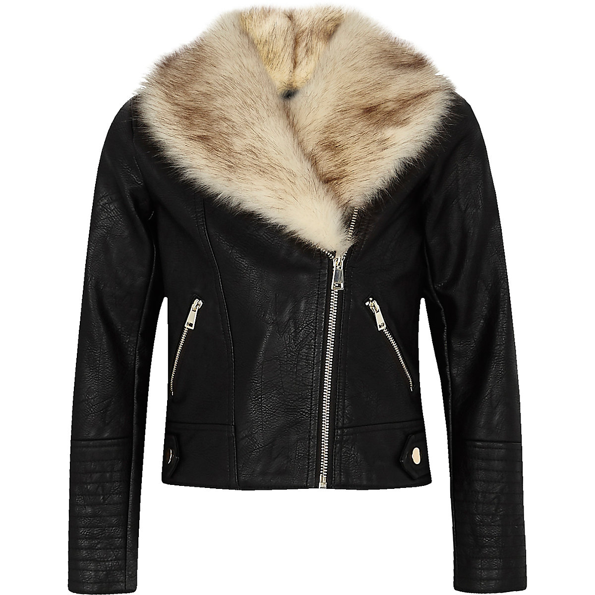 Girls black faux fur trim biker jacket