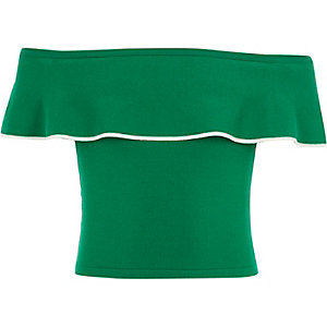 Girls green bardot frill top