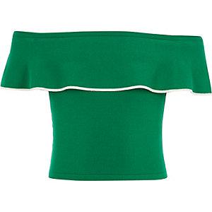 Grünes Bardot-Oberteil mit Rüschen
