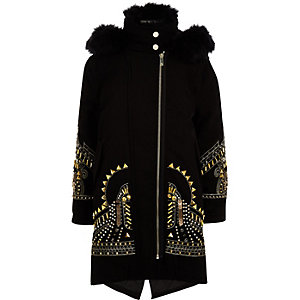 RI 30 girls black embellished parka