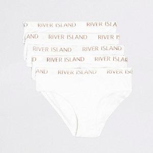 Multipack witte slips met RI-logo voor meisjes