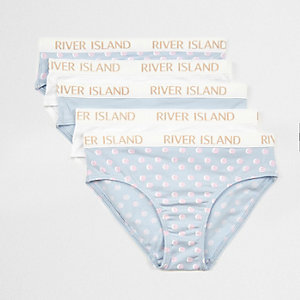Girls blue spot print briefs multipack