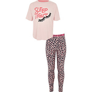 Girls pink 'sleep tight' print pyjama set