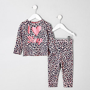 Mini girls pink leopard print pajama set
