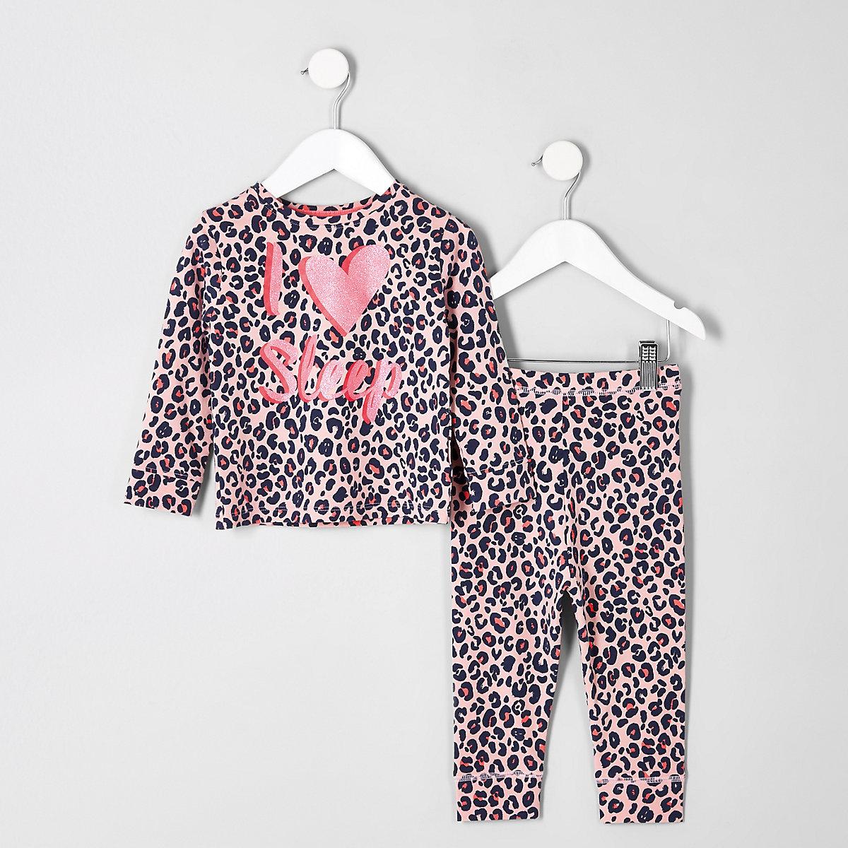 Mini girls pink leopard print pajama set