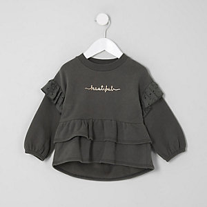 Mini girls 'beautiful' peplum sweatshirt