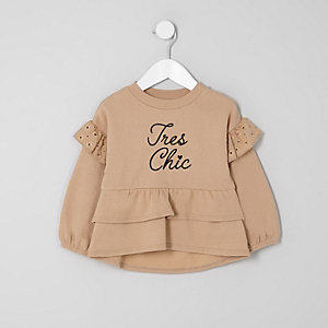 Mini girls brown tiered peplum hem sweater