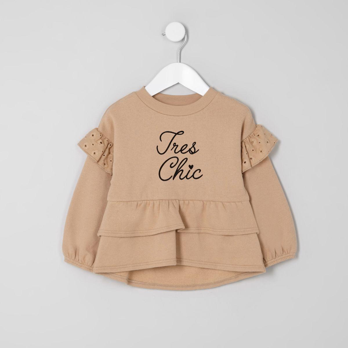 Mini girls beige tiered peplum hem sweater