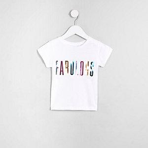 Mini - Wit T-shirt met 'Fabulous'-print voor meisjes