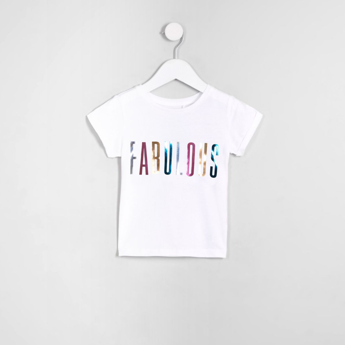 Mini girls white 'fabulous'  T-shirt