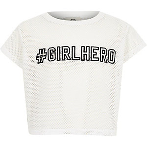 Wit T-shirt met mesh en 'girl hero'-print voor meisjes