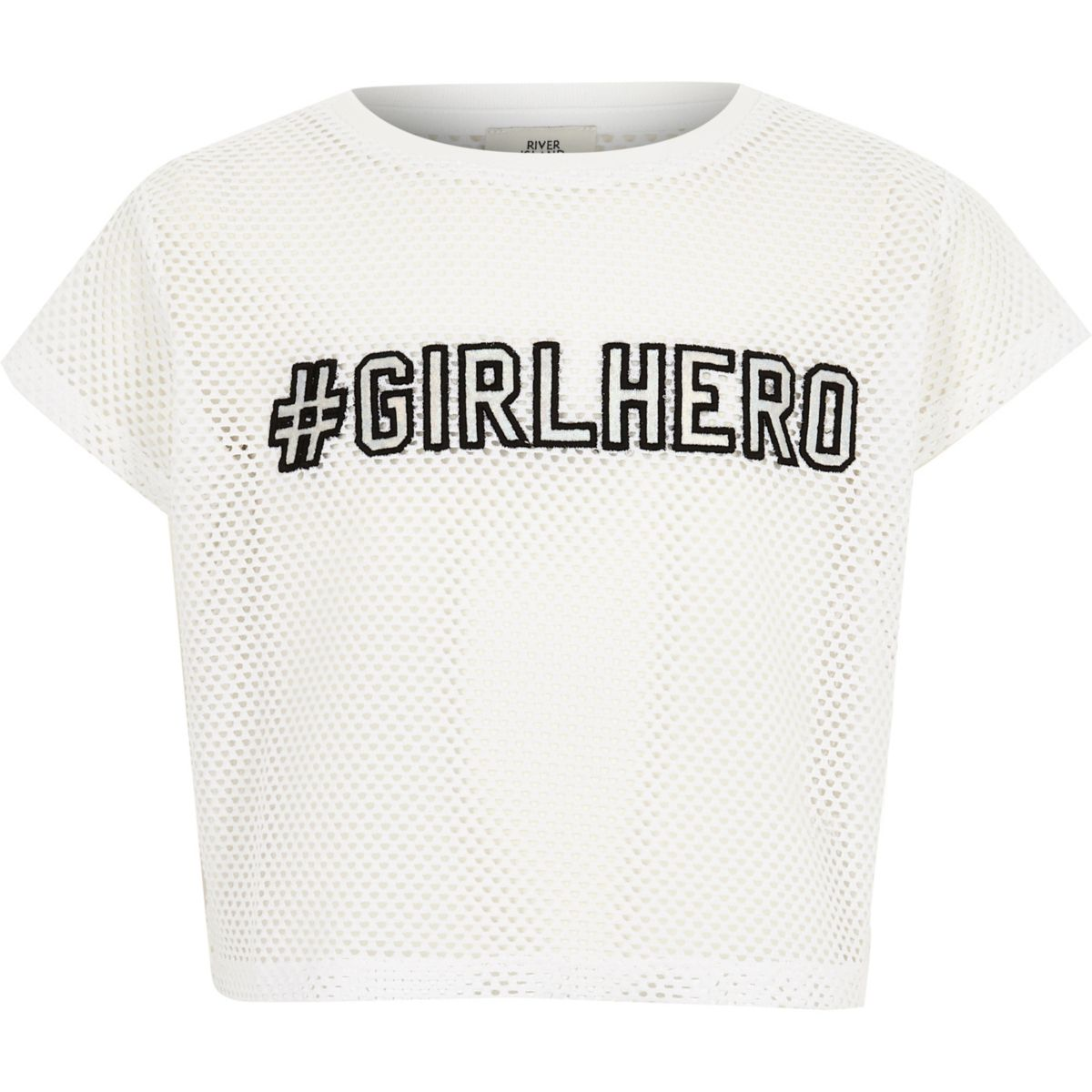 Girls white 'girl hero' mesh T-shirt