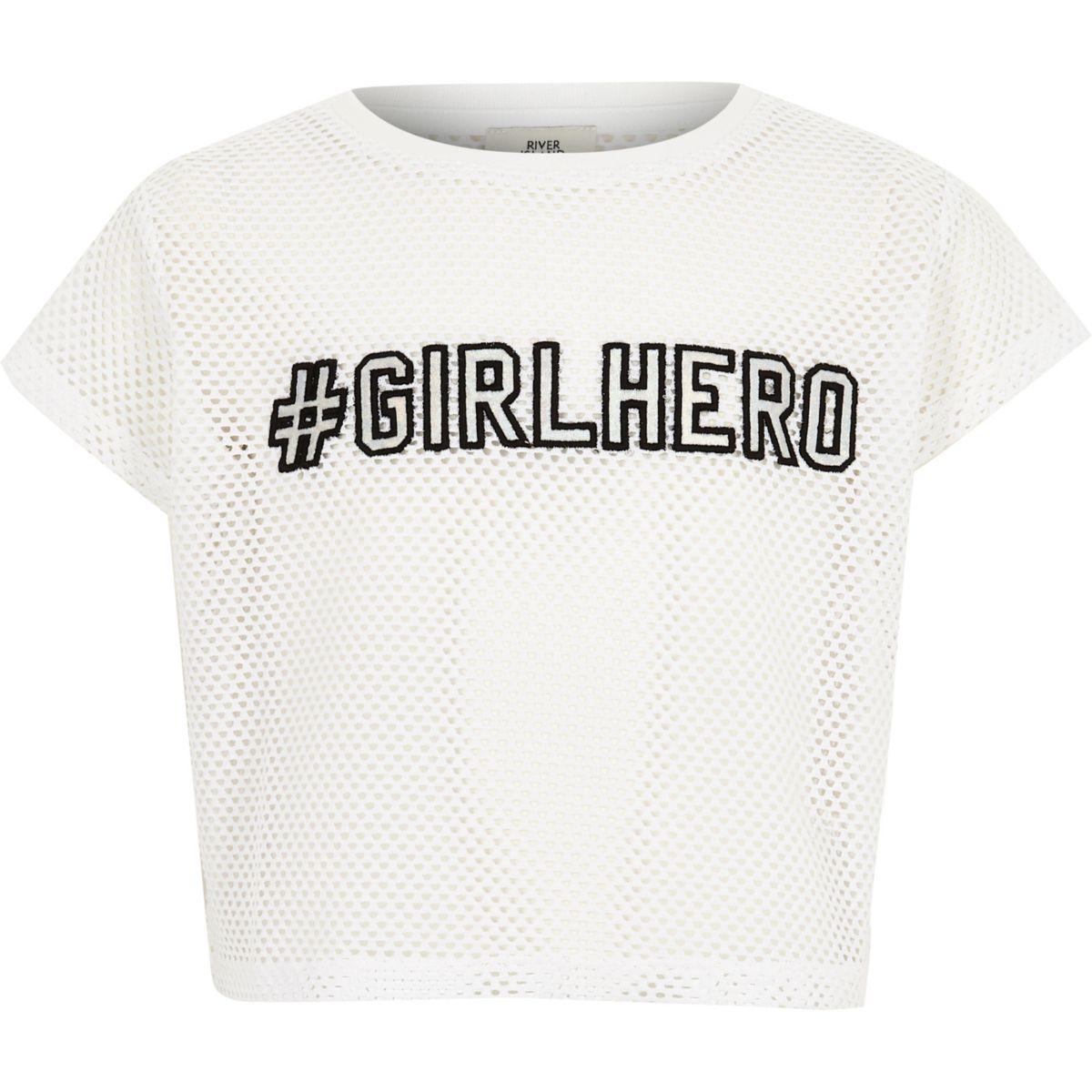 "Weißes T-Shirt ""girl hero"""
