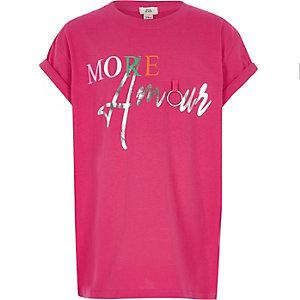 Felroze T-shirt met 'More Amour'-print voor meisjes