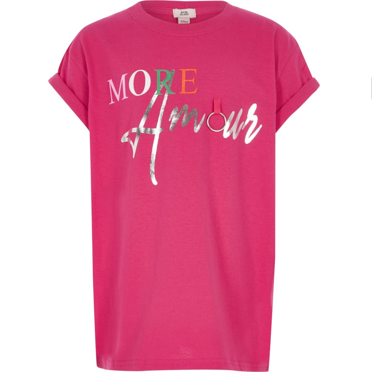 Girls bright pink 'More Amour' T-shirt