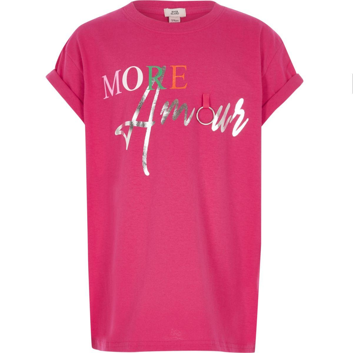 T-shirt «More Amour» rose vif pour fille