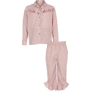 Girls pink heart satin ruffle pyjama set