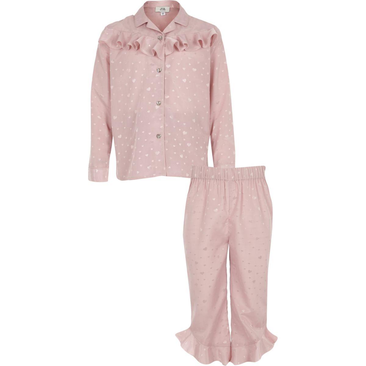 Girls pink heart satin ruffle pyjama set
