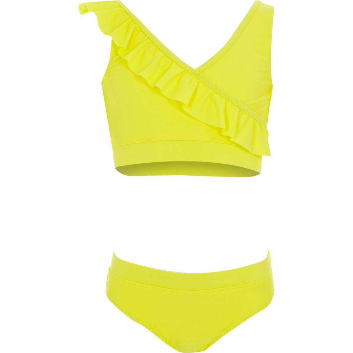 Tankini jaune à volants fille