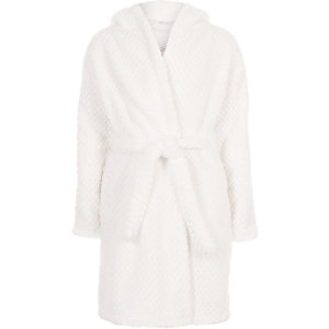 Girls cream RI sequin fluffy dressing gown