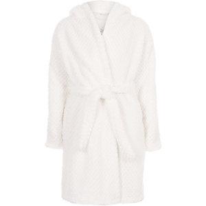 RI – Robe de chambre duveteuse crème à sequins pour fille