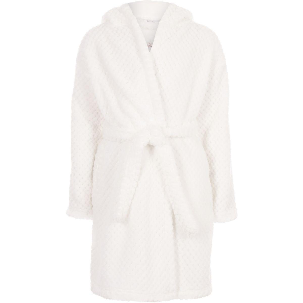 Girls cream RI sequin fluffy dressing gown