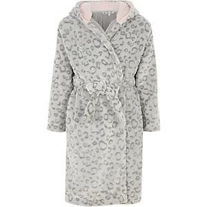 Girls grey leopard print dressing gown