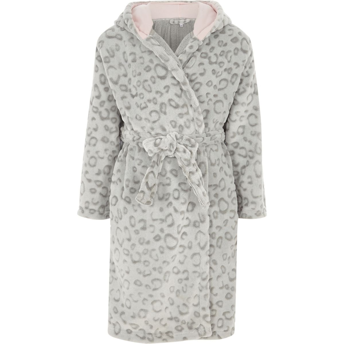 Girls grey leopard print dressing gown
