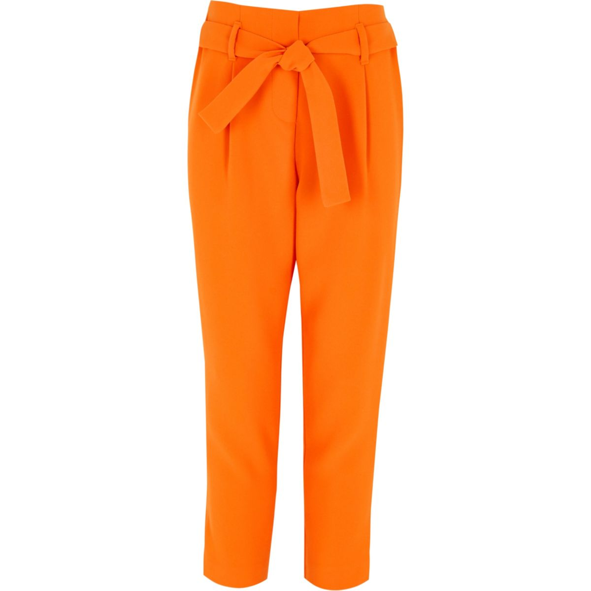 Girls orange tie waist tapered pants