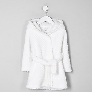 Mini girls cream RI fluffy dressing gown