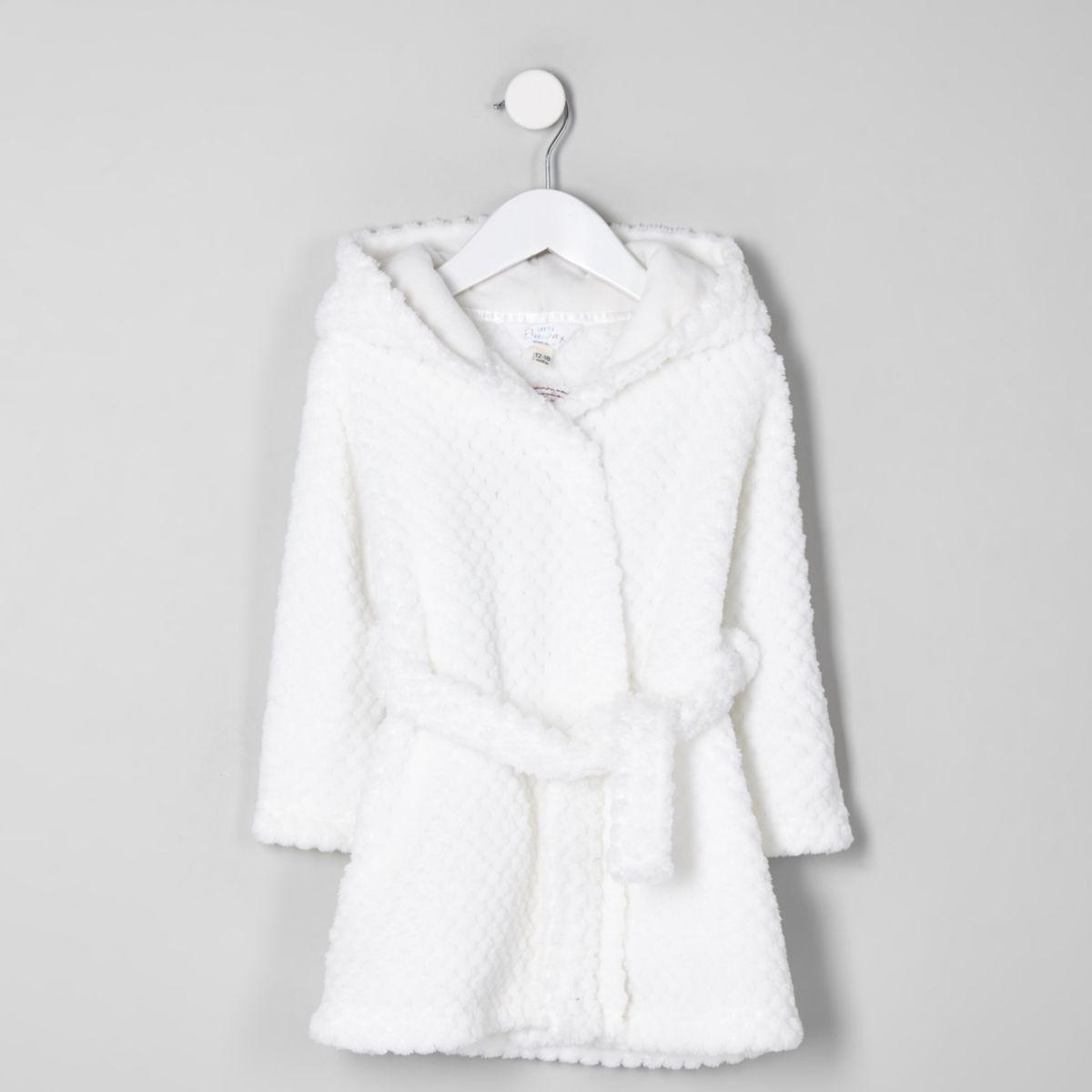 Mini girls cream RI fluffy dressing gown