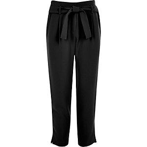 Zwarte broek met strikceintuur voor meisjes