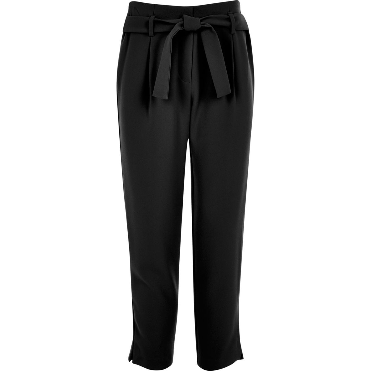 Girls black tie waist pants