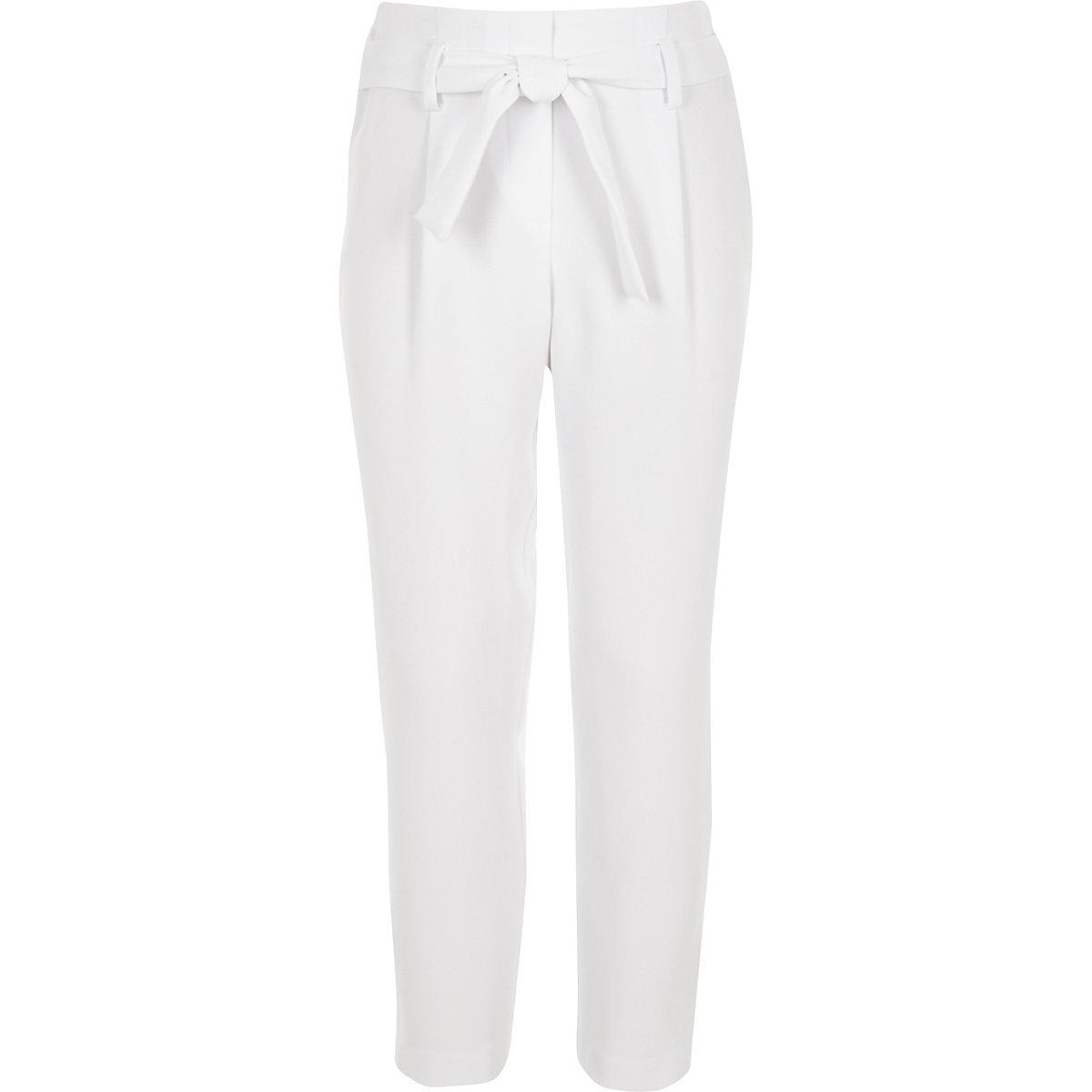 Girls white tapered tie waist trousers