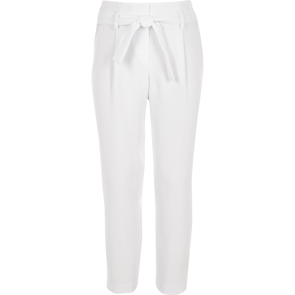 Girls white tapered tie waist pants