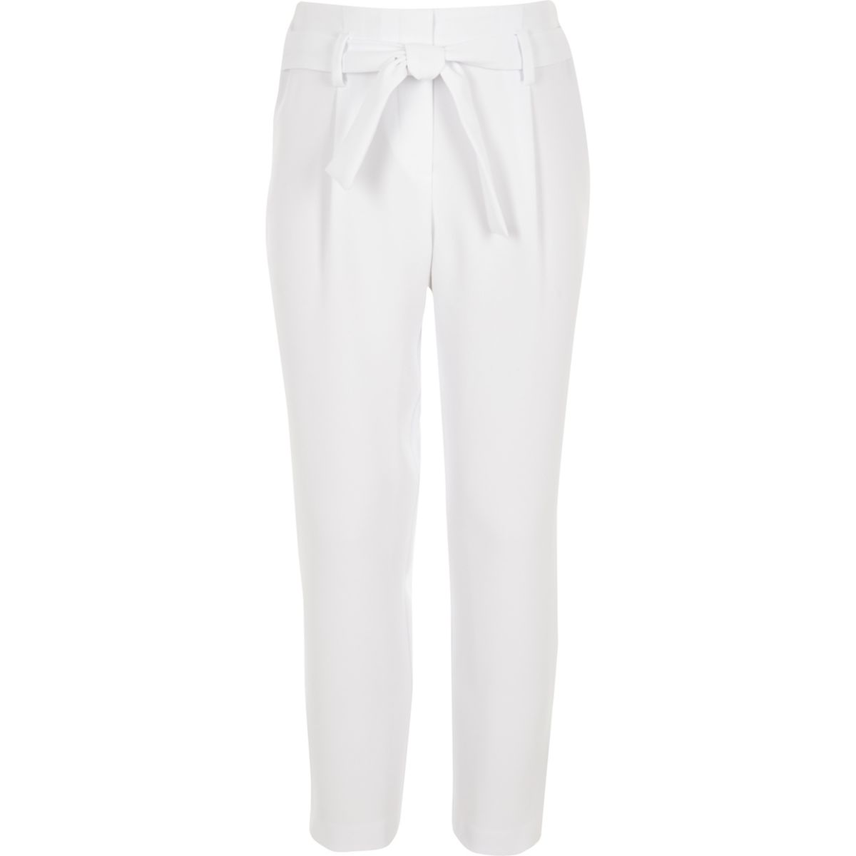 Girls White Tapered Tie Waist Trousers by River Island