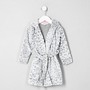 Mini girls grey leopard print dressing gown