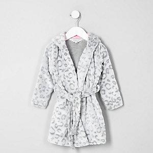 Robe de chambre à imprimé léopard grise mini fille