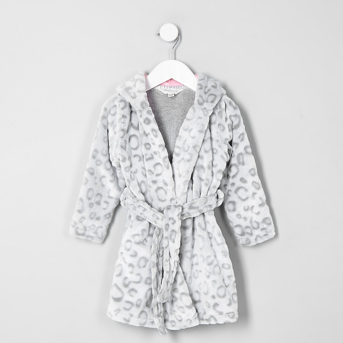 Mini Girls Grey Leopard Print Dressing Gown Baby Girls Pyjamas