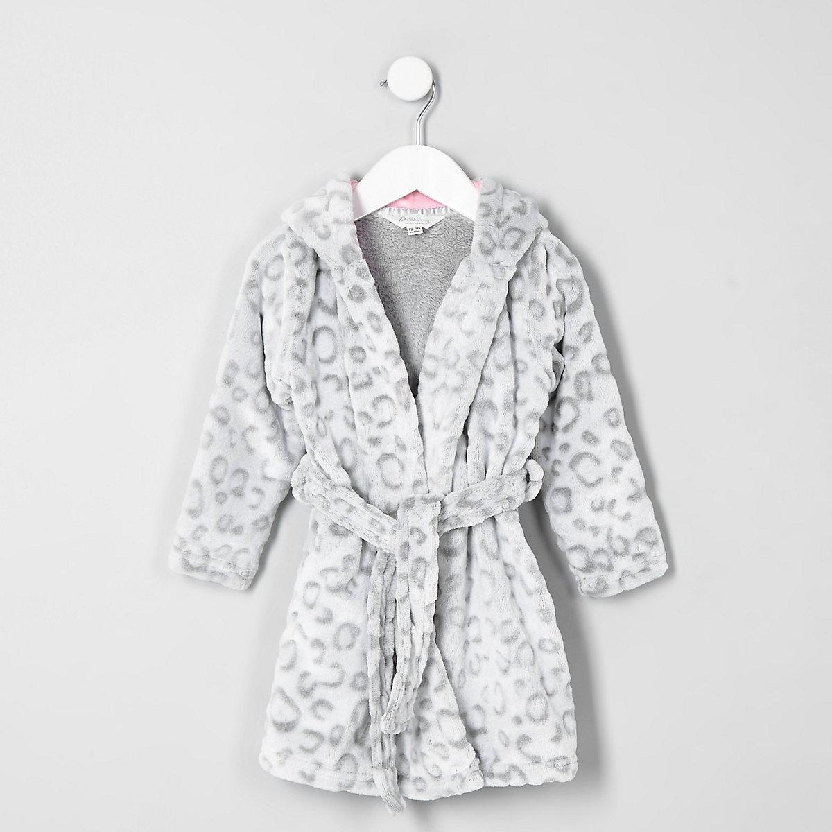 Mini girls grey leopard print dressing gown